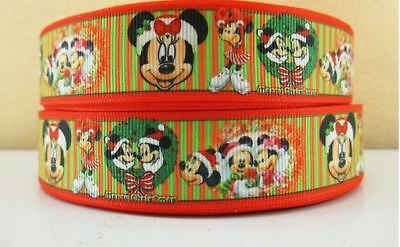 Grosgrain Ribbon Mickey Mouse and Minnie Mouse Christmas 25mm (1m, 2m or 5m)