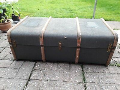 Blue Vintage Trunk Travel Chest