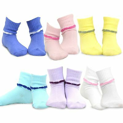 TeeHee Kids Girls Cotton Crew Basic Roll Top Socks 6 Pair Pack Scalloped Cuff
