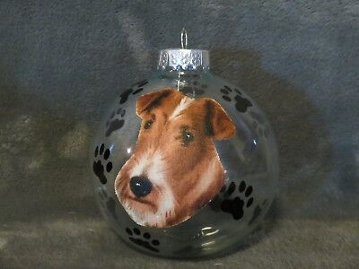 """Hand Made Airedale Terrier Dog 4"""" Glass Christmas Ornament/ball"""