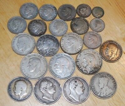 Great Britain lot of 22 Silver Coins - Nice UK Silver Coin Lot - NR