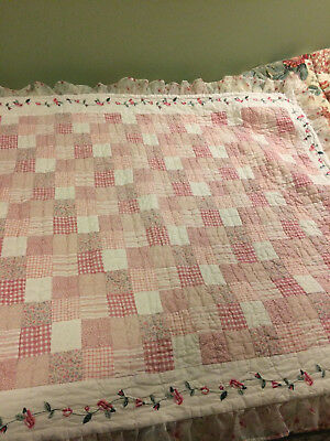 Darling Anna Claire for Baby patchwork quilt with embroidery and rose ruffle
