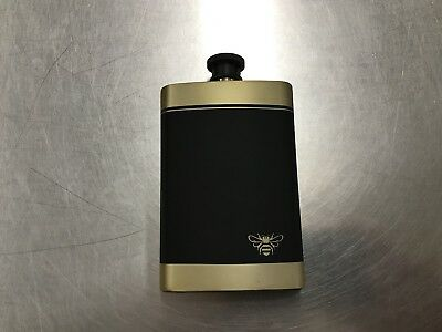 Jack Daniels Honey Whiskey Flask Rubberized Coating Matte Gold And Black