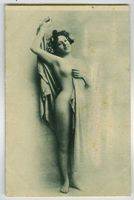 c 1902 French Nude SHAPELY LAY sexy risque undivided back photo postcard