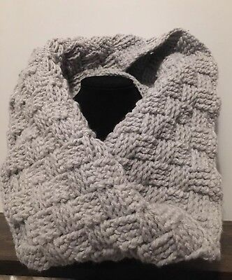 Women's Warm Light Gray Chunky Woven Reversible Infinity Circle Cowl Scarf