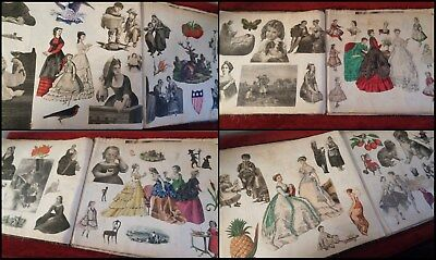Huge Antique Victorian Scrapbook Ca 1870s Hand-Made w/ Cloth Pages 100's Cutouts