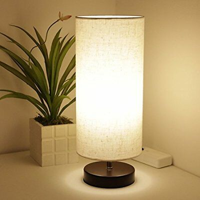 Table Lamps Wood With Fabric Shade, LED Bedside Desk Lamp, Bulb Included (Round)
