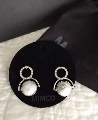 NEW Current Slumber Stud MIMCO EARRINGS White Marble RRP$79 Work Function Party