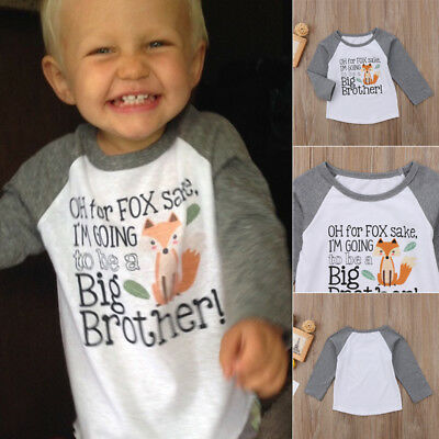 US Stock Big Brother Fox Print Tops Baby Boys Long Sleeve Cotton T-shirt Clothes