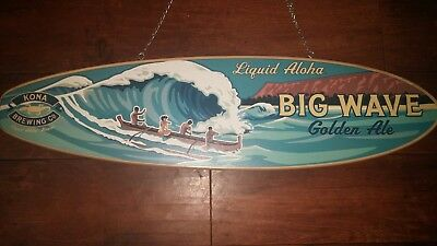 RARE 3' Kona Brewing Liquid Aloha Big Wave Surf board Wooden Beer Sign two Sided
