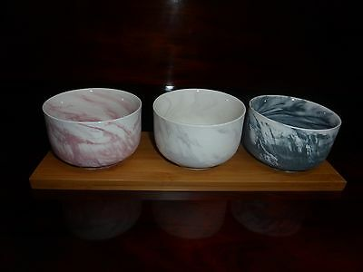 Serving Bowls (3 small) on Wooden Base