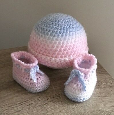 Newborn  Knitted / Crochet Baby Beanie / Bonnet,And Bootie Set Baby Gift