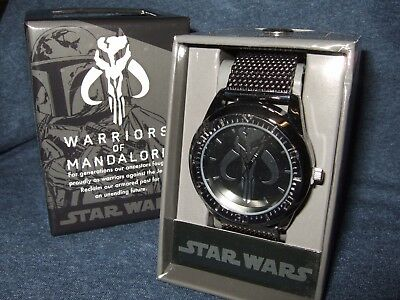 NIB Mens Star Wars Warriors of Mandalore Boba Fett Chain Link Wrist Watch Disney