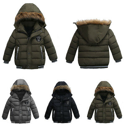 Winter Kids Boys Padded Snowsuit Fur Hooded Warm Quilted Parka Coat Jacket