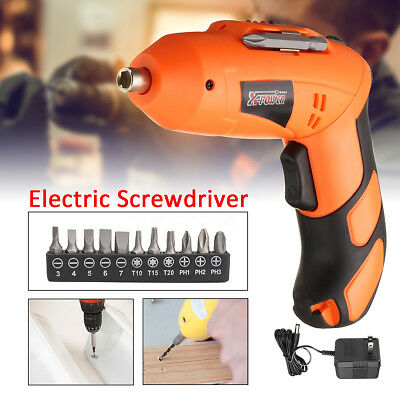 Battery Operated Cordless Wireless Screwdriver Electric Drill Portable +11 Screw