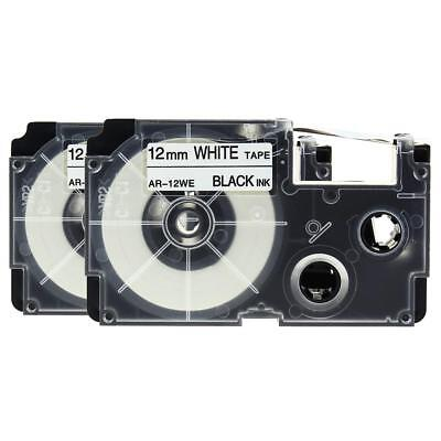 2pk Compatible CASIO XR-12WE Label Tape KL430 XR-12WE1 Black on White 12mm 8m