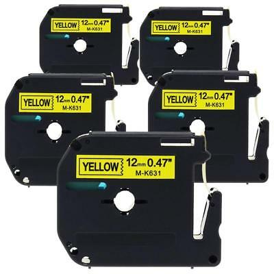 5pk M-K631 Label Tape Compatible for Brother MK P-Touch MK631 Label Maker 12mm