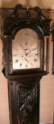 "ANTIQUE CARVED OAK CASE ""MALLING"" (Strike/silent) LONGCASE / GRANDFATHER  CLOCK"