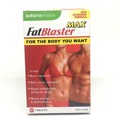Naturopathica Fat Blaster MAX 60 Tablets New Stronger Formula Burn Fat Calories