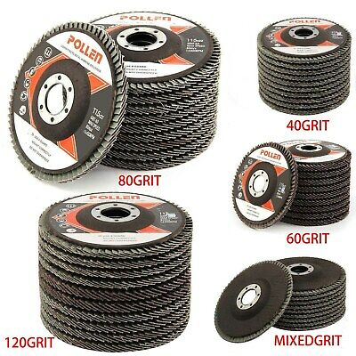"10Pcs Flap Discs Strong Sturdy 115mm 4.5"" Sanding Grinding Wheels 40/60/80/120"