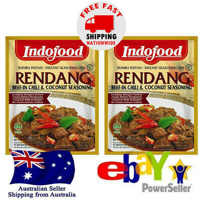 2x Indofood Rendang Seasoning for Beef in Rich Coconut & Spices 50 g Halal