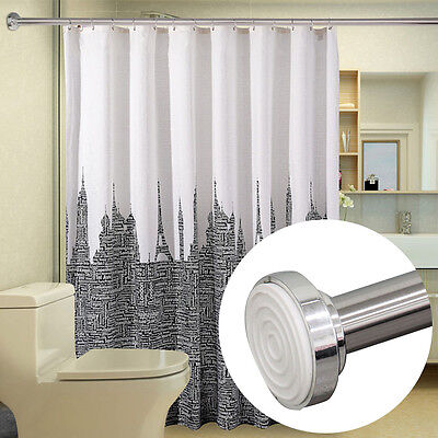 Telescopic Shower Curtain Rail Extendable 125 220cm Rail Rod Pole Rods Rails