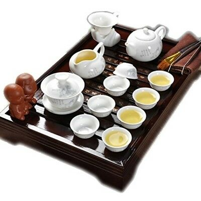 Authentic Chinese Ceramic Kung Fu Master Tea Cup Service Set With Wooden Tray