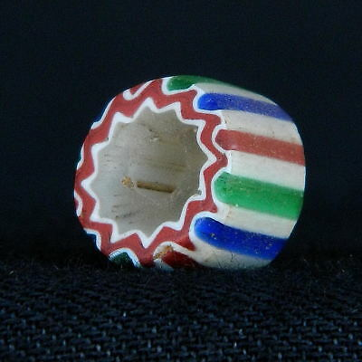 ANCIENT Dutch CHEVRONS Glass BEAD - 10 mm DIA - 1700s /1800s - SAHARA