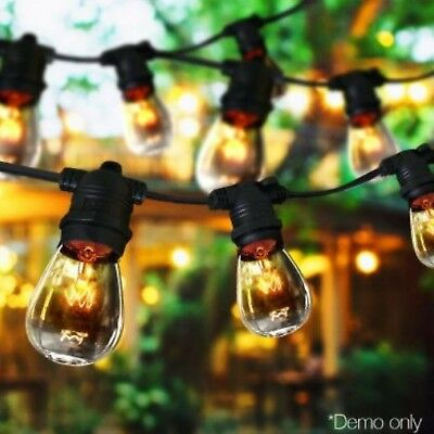 20m Festoon String Lights Kits Wedding Party Waterproof Outdoor Vintage Retro