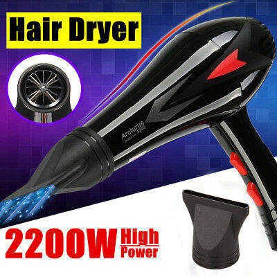 2200W Professional Hair Dryer Blower 3 Heat 2 Speed Hot & Cold Wind With Nozzle