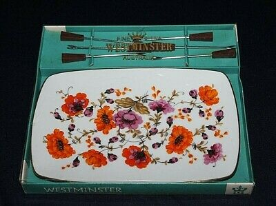 Retro WESTMINSTER Platter With Entree Forks Diana Pattern In Original Box