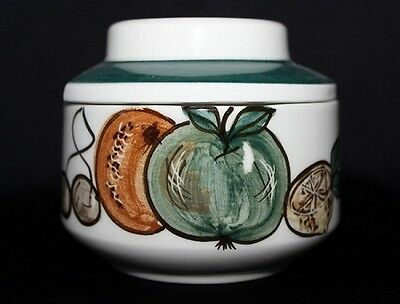 Retro British Art Pottery Lidded Sugar Bowl By JERSEY POTTERY Fruit Theme