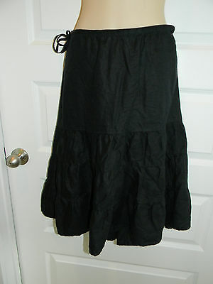 OLD NAVY Maternity Black Linen Tiered Knee Length~Skirt Sz Medium Tie Waist!