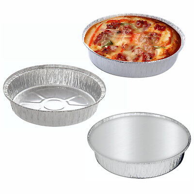 20x Large Aluminium Foil Dishes Tray Round Bake Pie Casserole Flan Lids Takeaway