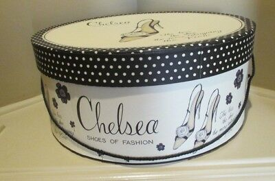 "Hat Box Vintage Large 16"" Chelsea Advertising Storage Make up Accessories Belts"