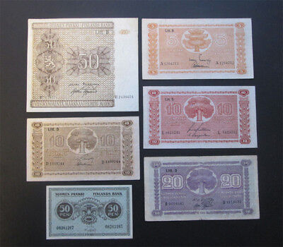 Finland lot  50 Mark 1945 and 5 to 20 Mark 1939 1945 6 banknotes about VF/EXF!