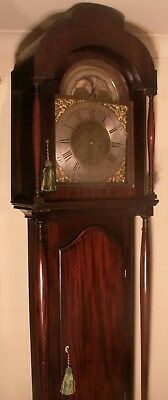Antique Mahogany Brass Moon Phase Dial Longcase / Grandfather Clock