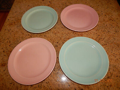 """4 Vintage 1940 T.S.&.T Lu Ray 6-1/4"""" Bread & Butter Plates - 2 pink, 2 green"""