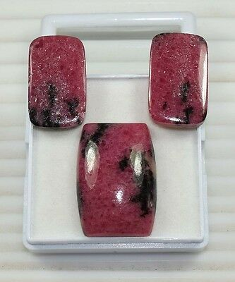 3 Pcs Set ! 119.40 Ct. 100% Natural Reddish Pink Rhodonite Cushion Cab Loose Gem