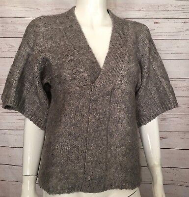 e5867754cc ROMEO & JULIET COUTURE Women's Wool Mohair Sweater SS V-Neck Gray SMALL Top