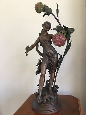 Antique Art Nouveau French Figural Newel Post Lamp Bird Dove Beaded Czech Shades