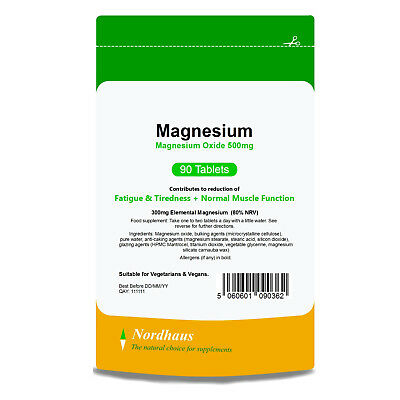 Magnesium (MgO) 500mg ( 90 / 180 Tablets ) Tiredness Fatigue Lindens Supplement