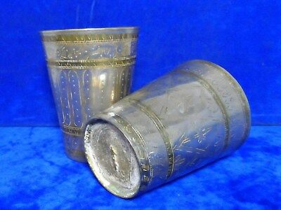 Pair Old Vintage India Deity Etched Brass & Plated Beakers Indian Cups Goblets