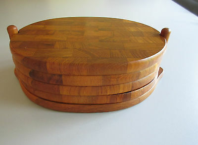 """70s : Set of  4 Teak Plates with Teak Stand  DIGSMED Denmark  9"""" ½ x 3"""" ½ x ¾"""""""