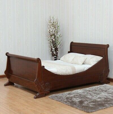 SALE Solid Mahogany French Carved Sleigh Bed 4'6 5' or 6' Antique Repro New B015