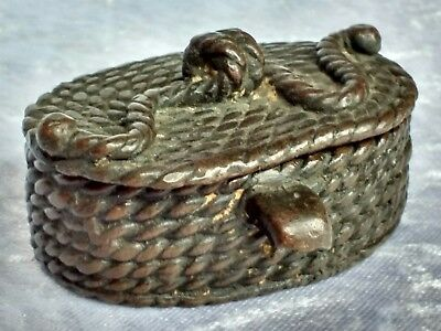 Antique Japanese cast bronze box modelled as a fisherman's basket Rare item
