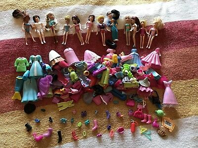 Polly Pocket Dolls & Clothes + Accessories Toy Bundle