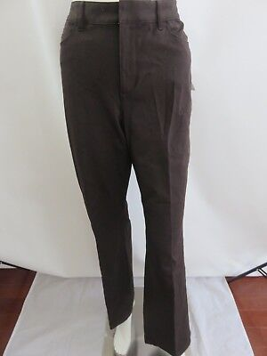 Coldwater Creek Brown Natural Fit Cotton Stretch Boot Cut Dress Pants Size 10