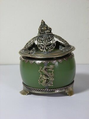 Chinese Glass Lidded Pot with Metal Mounts and Lid Buddha Dragons Frogs