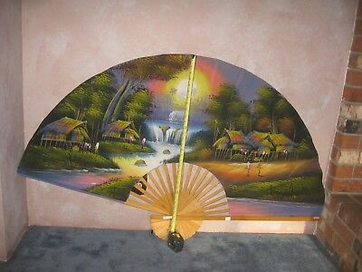 "Vintage Large Asian Fan Wall Decor, Hand Painted, Birds XL 60"" X 35"""